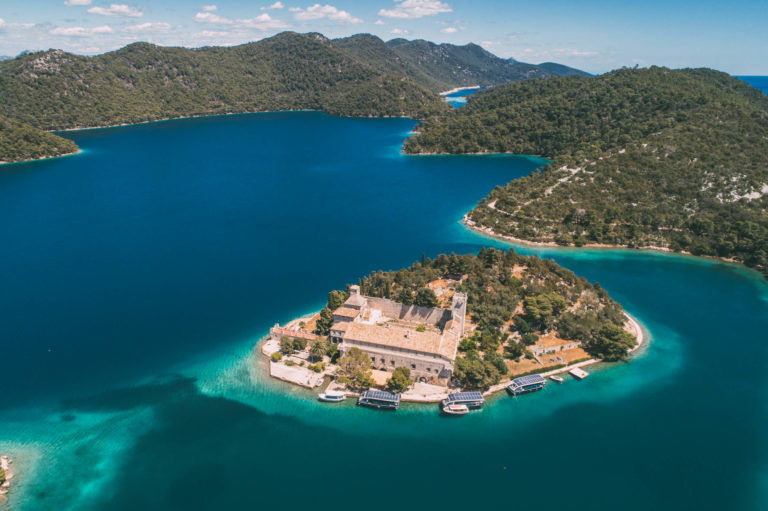 aerial view of island in the big lake on mljet island
